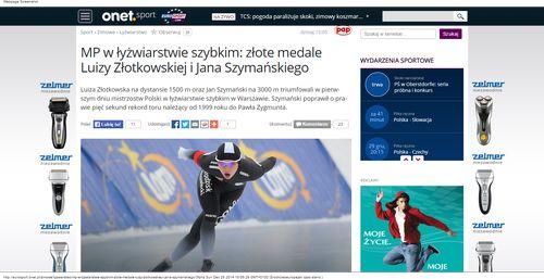 MP w łyżwiarstwie szybkim  złote medale Luizy Złotkowskiej i Jana Szymańskiego - Sport_W500