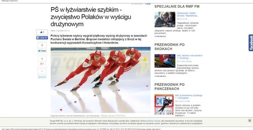 PŚ w łyżwiarstwie szybkim - zwycięstwo Polaków w wyścigu drużynowym - Zimowe zmagania Polaków - RMF24.pl - najnowsze wiadomości w raporcie  Zimowe zmagania Polaków_W500