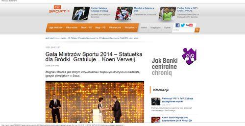 Gala Mistrzów Sportu 2014 – Statuetka dla Bródki. Gratuluje... Koen Verweij - SPORT.TVP.PL_W500